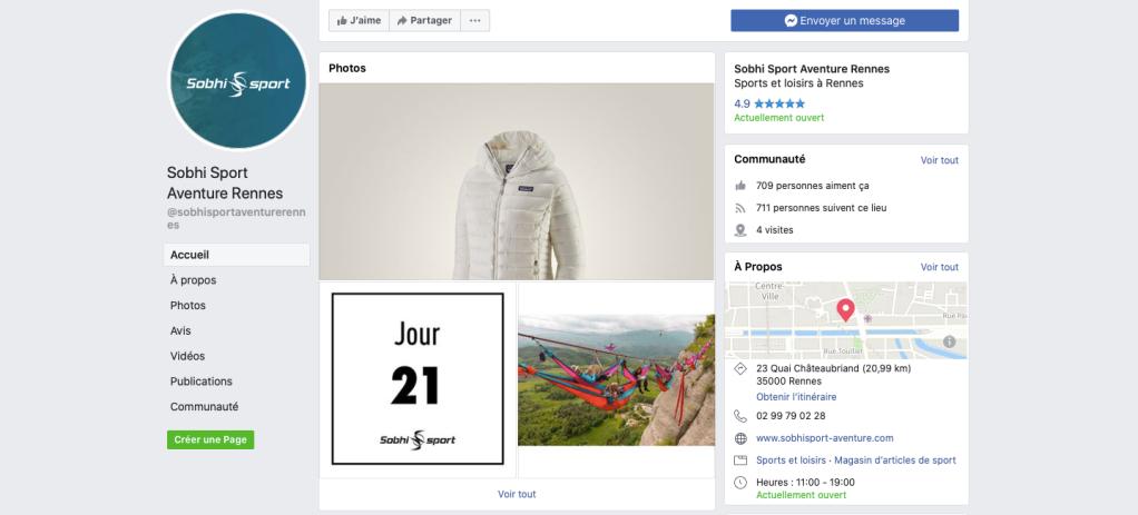Page Facebook Sobhi Sport Aventure Rennes.
